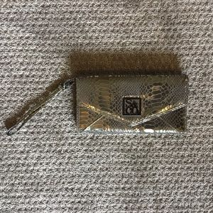 Grey and silver faux snakeskin clutch S&CO